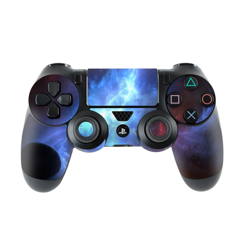 PlayStation 4 Controller Skin design of Sky, Atmosphere, Outer space, Space, Astronomical object, Fractal art, Universe, Electric blue, Art, Organism with black, blue, purple colors