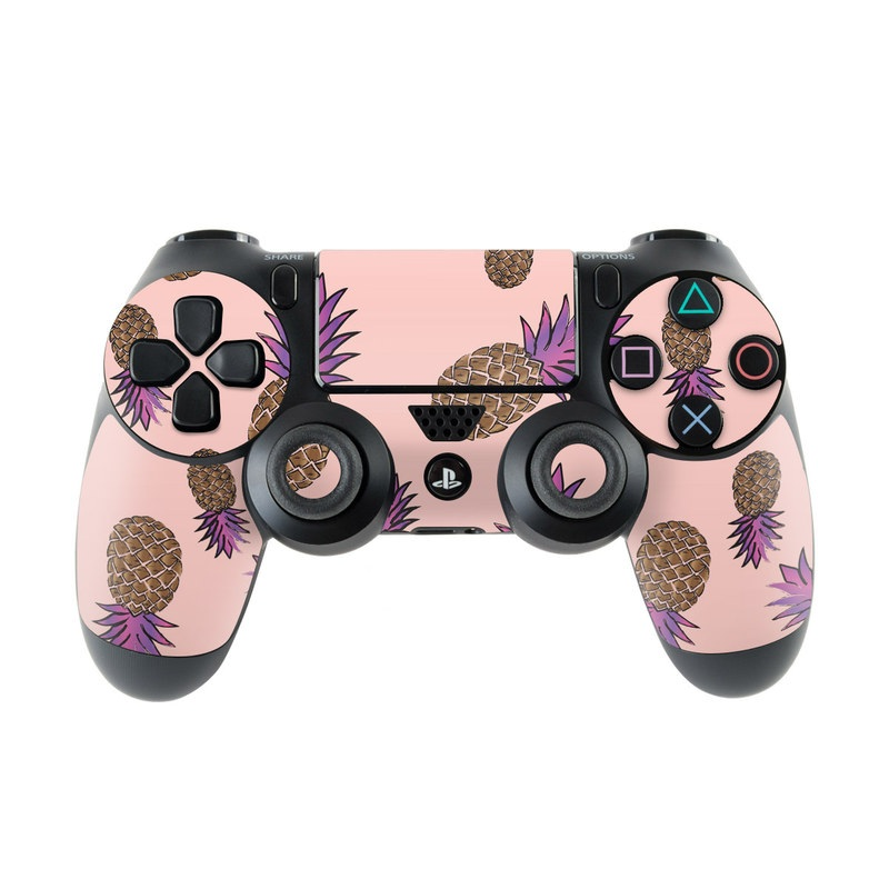 PlayStation 4 Controller Skin design of Plant, Organism, Flower, Pattern, Flowering plant, globe thistle, Pine family with pink, brown, purple colors