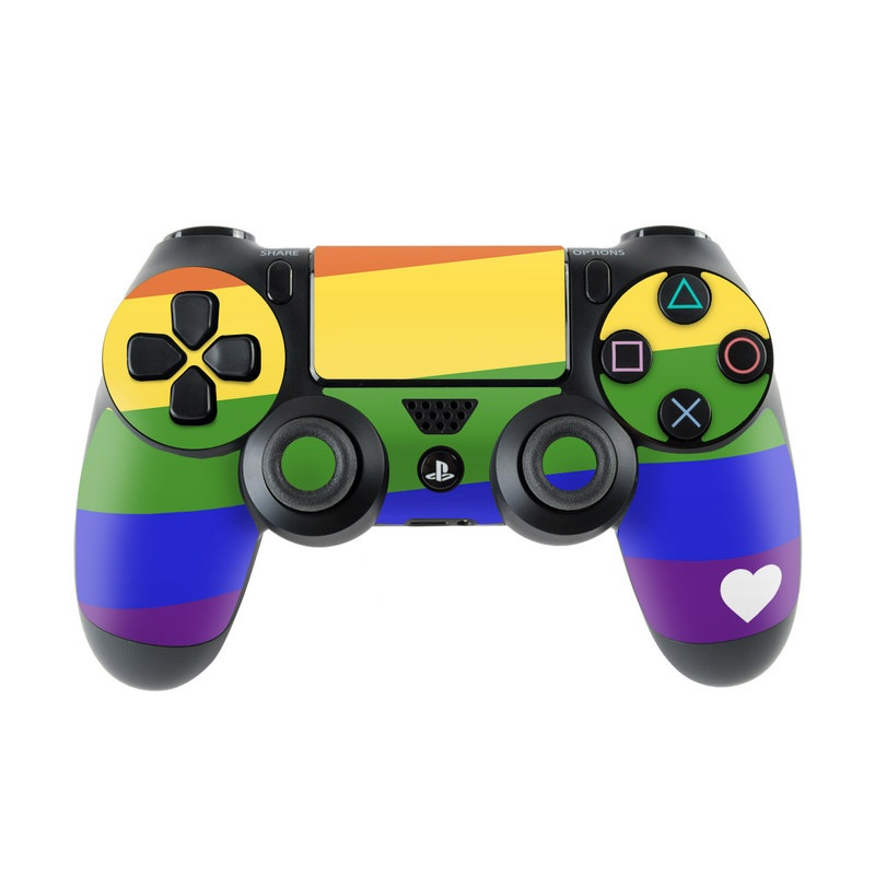 PlayStation 4 Controller Skin design of Yellow, Colorfulness, Line, Magenta, Tints and shades with white, blue, purple, green, yellow, orange, red colors