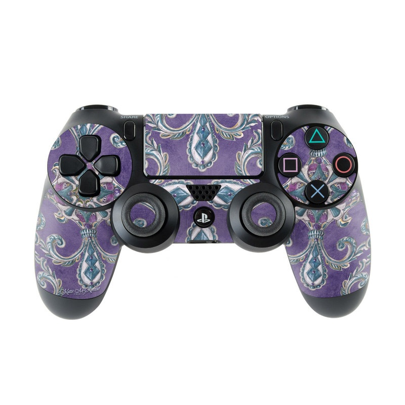 PlayStation 4 Controller Skin design of Pattern, Purple, Teal, Turquoise, Aqua, Violet, Motif, Visual arts, Design, Textile with gray, blue, purple, black colors