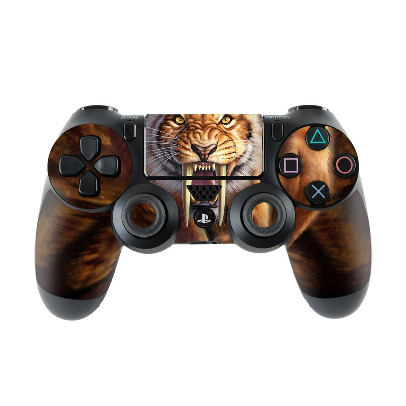 PlayStation 4 Controller Skin design of Roar, Felidae, Facial expression, Wildlife, Whiskers, Bengal tiger, Carnivore, Snout, Big cats, Fang with black, orange, yellow, white colors