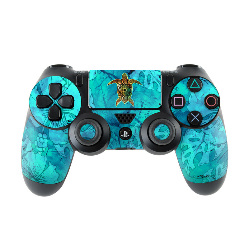 PlayStation 4 Controller Skin design of Sea turtle, Green sea turtle, Turtle, Hawksbill sea turtle, Tortoise, Reptile, Loggerhead sea turtle, Illustration, Art, Pattern with blue, black, green, gray, red colors