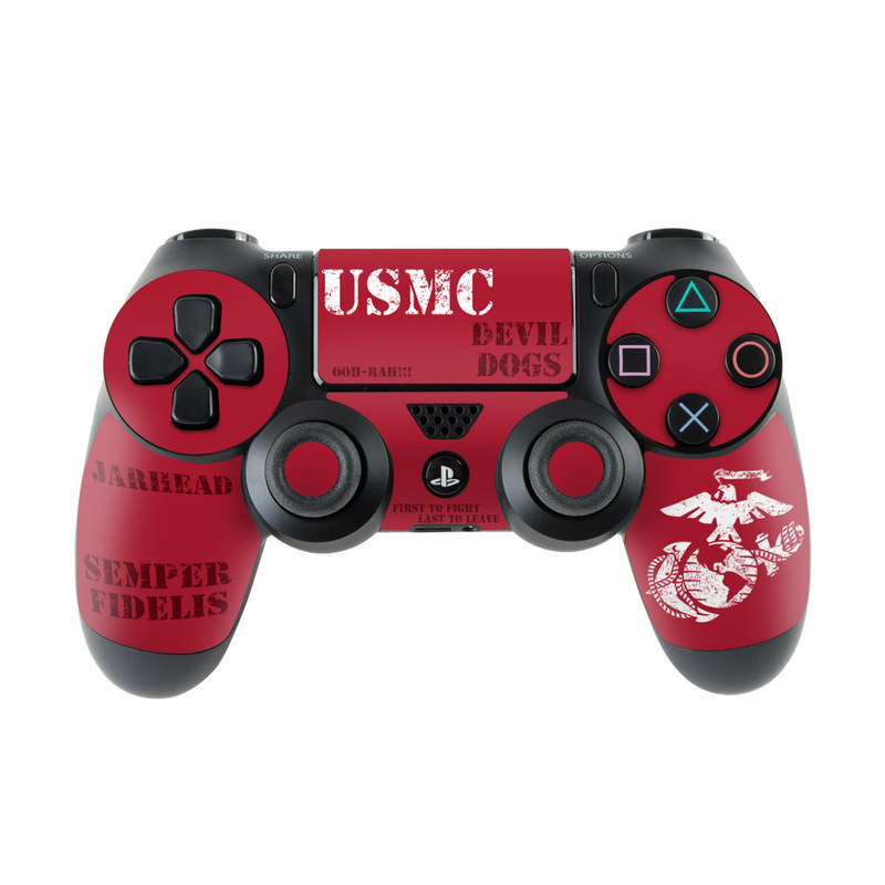 PlayStation 4 Controller Skin design of Font, Text, Logo, T-shirt, Poster, Graphics, Brand, Banner with red, gray, white, black, pink colors