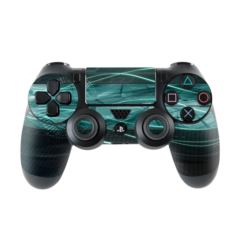 PlayStation 4 Controller Skin design of Blue, Green, Aqua, Turquoise, Light, Teal, Line, Water, Pattern, Architecture with black, blue, gray colors
