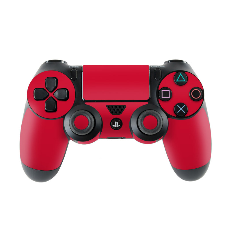 PlayStation 4 Controller Skin design of Red, Pink, Maroon, Purple, Orange, Violet, Magenta, Material property, Font, Peach with red colors