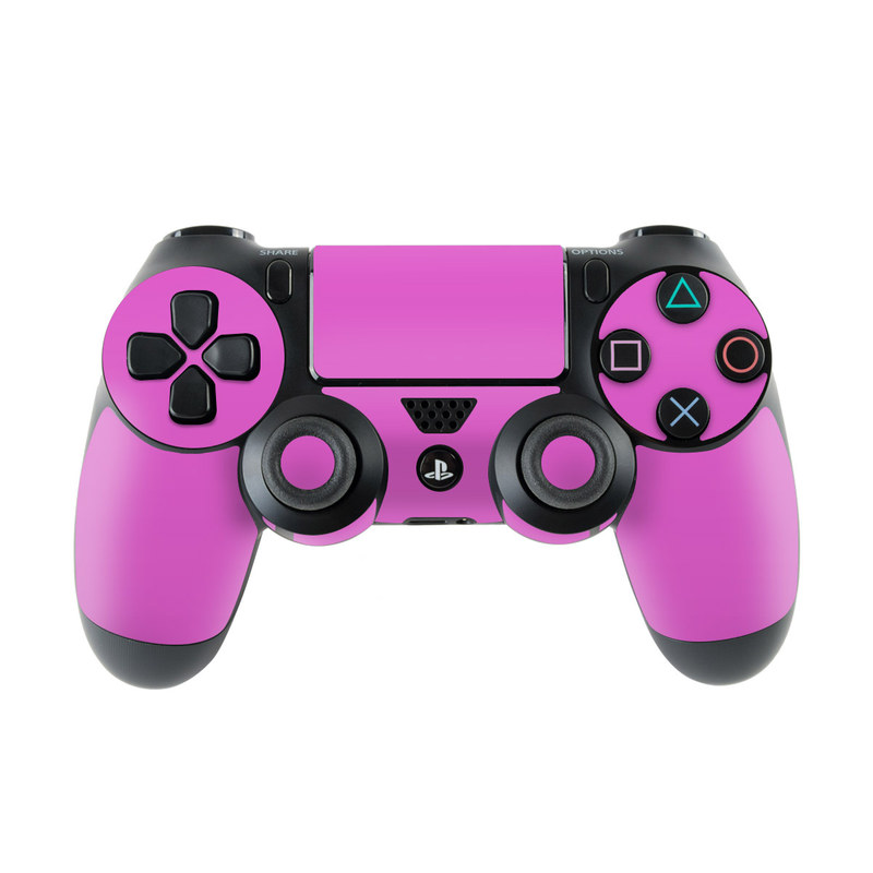 PlayStation 4 Controller Skin design of Violet, Pink, Purple, Red, Lilac, Magenta, Blue, Lavender, Text, Sky with pink colors