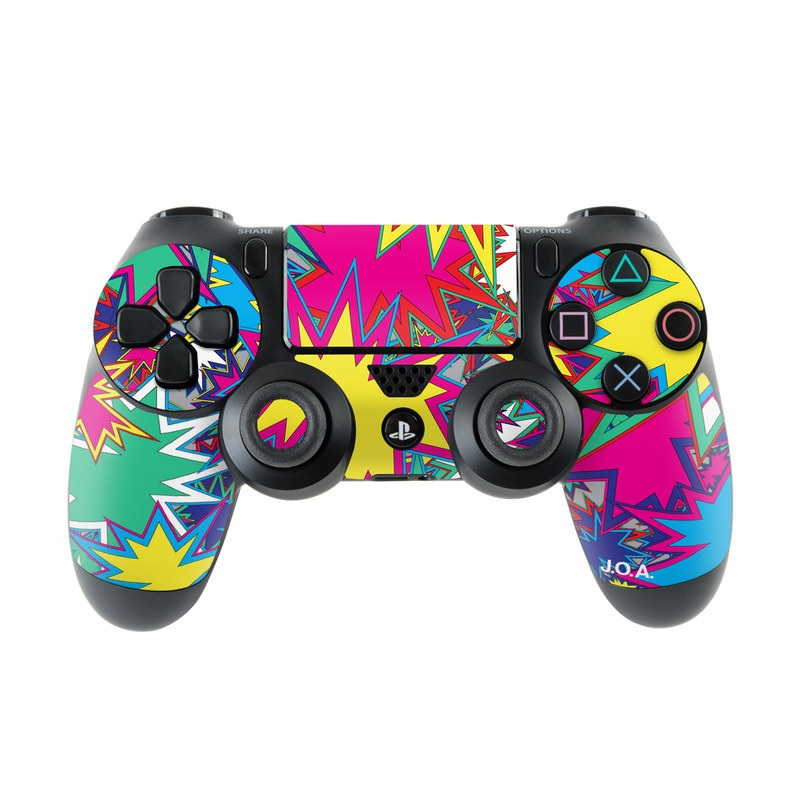 PlayStation 4 Controller Skin design of Pattern, Design, Symmetry, Graphic design, Graphics with blue, purple, red, orange, white colors