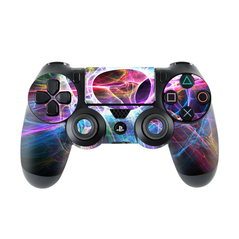 PlayStation 4 Controller Skin design of Fractal art, Light, Pattern, Purple, Graphic design, Design, Colorfulness, Electric blue, Art, Neon with black, gray, blue, purple colors