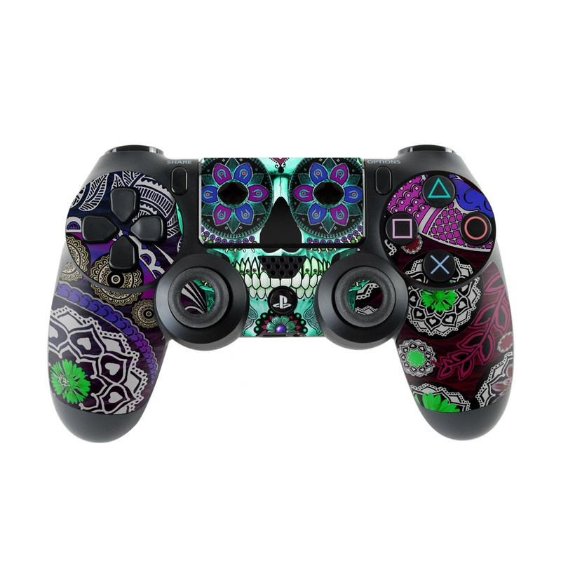 PlayStation 4 Controller Skin design of Psychedelic art, Pattern, Skull, Purple, Bone, Violet, Design, Visual arts, Art, Magenta with blue, green, purple, red, green, pink colors