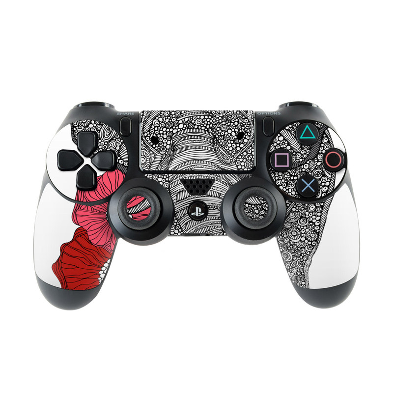 PlayStation 4 Controller Skin design of Indian elephant, Elephants and Mammoths, African elephant, Line art, Illustration with gray, black, white, red colors
