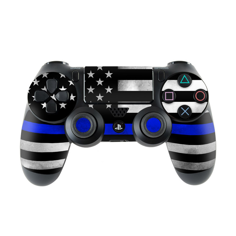 PlayStation 4 Controller Skin design of Line, Flag, Text, Flag of the united states, Font, Parallel, Symmetry, Black-and-white, Pattern, Graphics with black, white, gray, blue colors