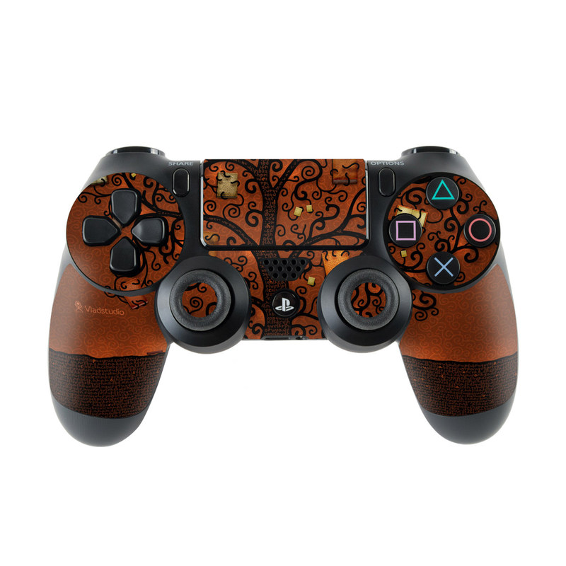 PlayStation 4 Controller Skin design of Tree, Brown, Leaf, Plant, Woody plant, Branch, Visual arts, Font, Pattern, Art with black colors
