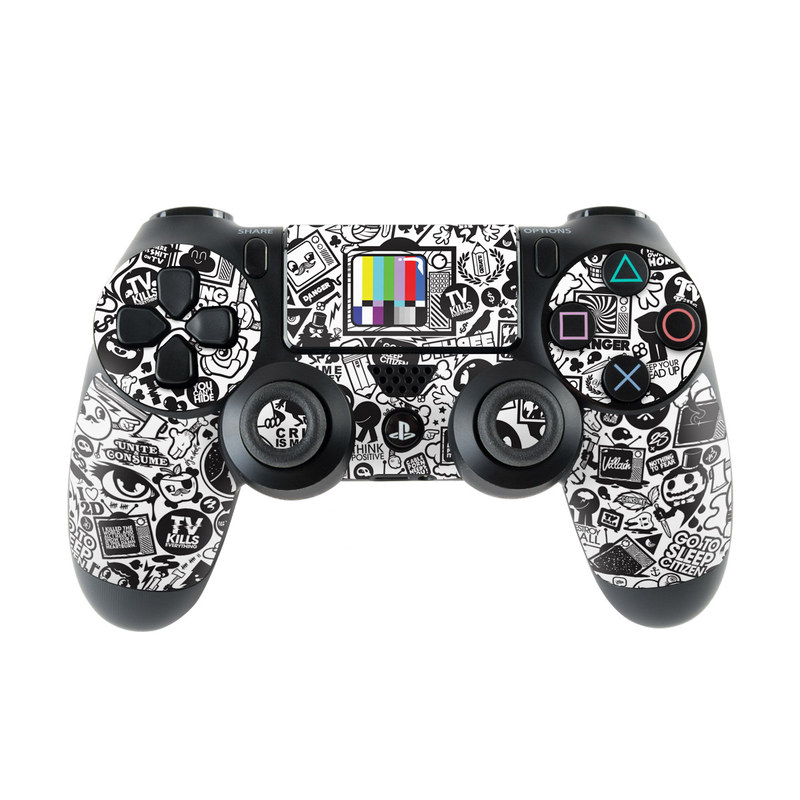 PlayStation 4 Controller Skin design of Pattern, Drawing, Doodle, Design, Visual arts, Font, Black-and-white, Monochrome, Illustration, Art with gray, black, white colors