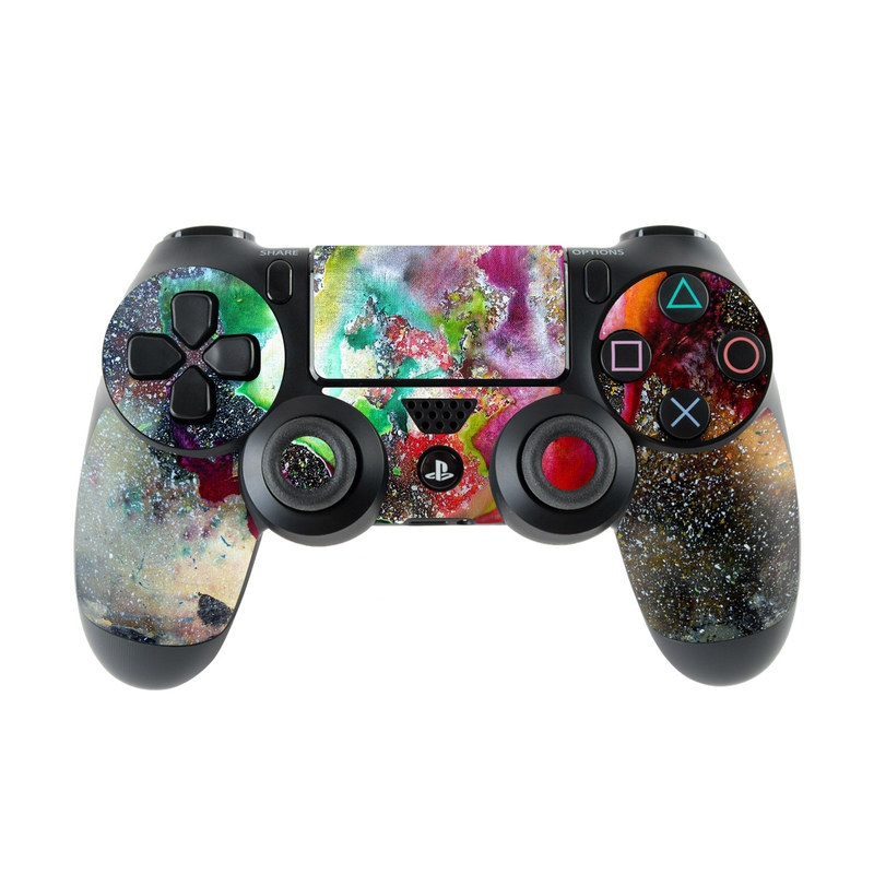 PlayStation 4 Controller Skin design of Organism, Space, Art, Nebula, Rock with black, gray, red, green, blue, purple colors