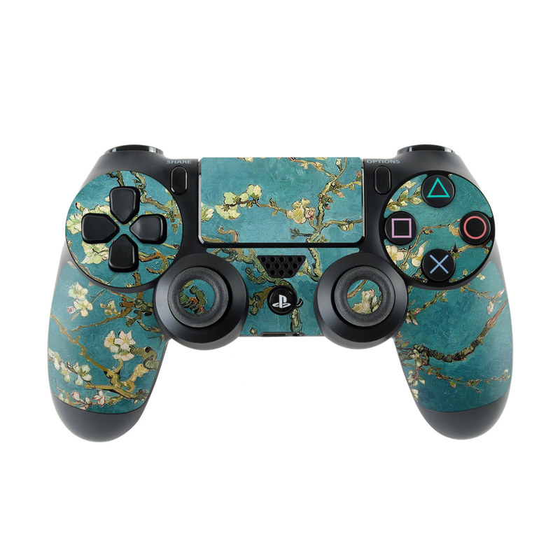 PlayStation 4 Controller Skin design of Tree, Branch, Plant, Flower, Blossom, Spring, Woody plant, Perennial plant with blue, black, gray, green colors