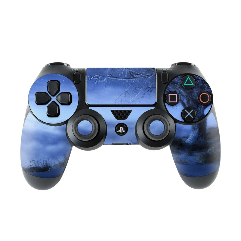 PlayStation 4 Controller Skin design of Sky, Nature, Atmospheric phenomenon, Blue, Natural landscape, Atmosphere, Tree, Cloud, Morning, Winter with black, blue, purple, gray colors