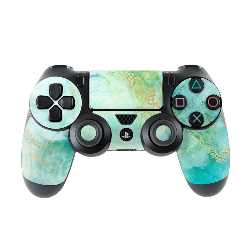 PlayStation 4 Controller Skin design of Blue, Watercolor paint, Aqua, Line, Sky, Design, Pattern, Art, Illustration with blue, yellow, orange colors