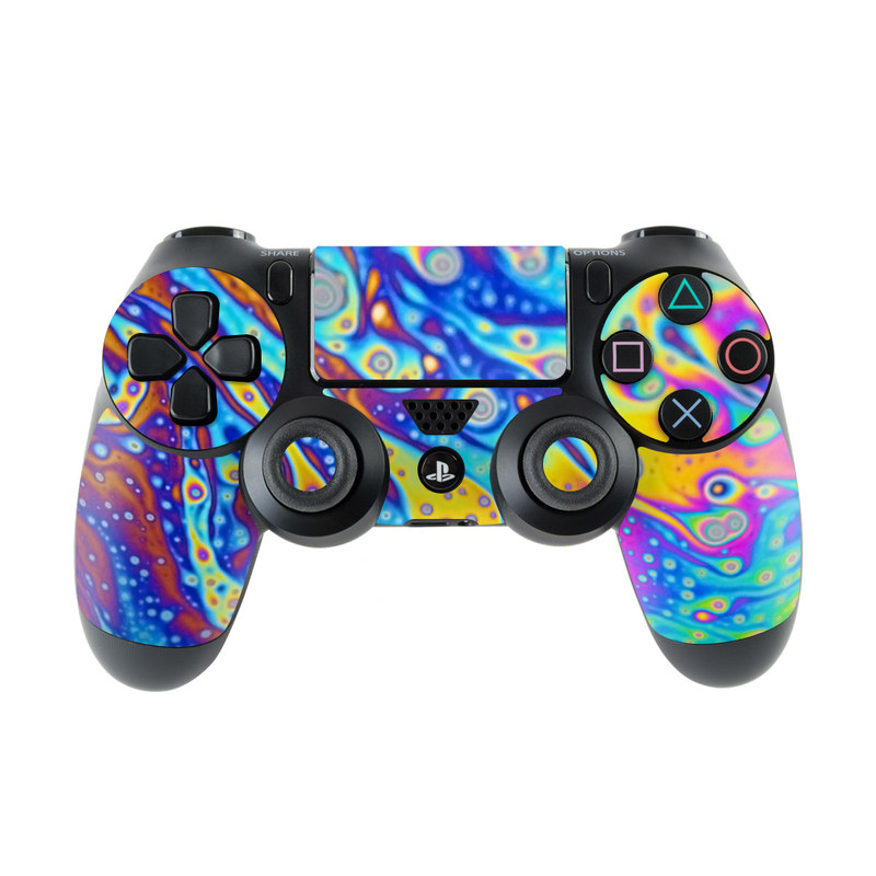 PlayStation 4 Controller Skin design of Psychedelic art, Blue, Pattern, Art, Visual arts, Water, Organism, Colorfulness, Design, Textile with gray, blue, orange, purple, green colors
