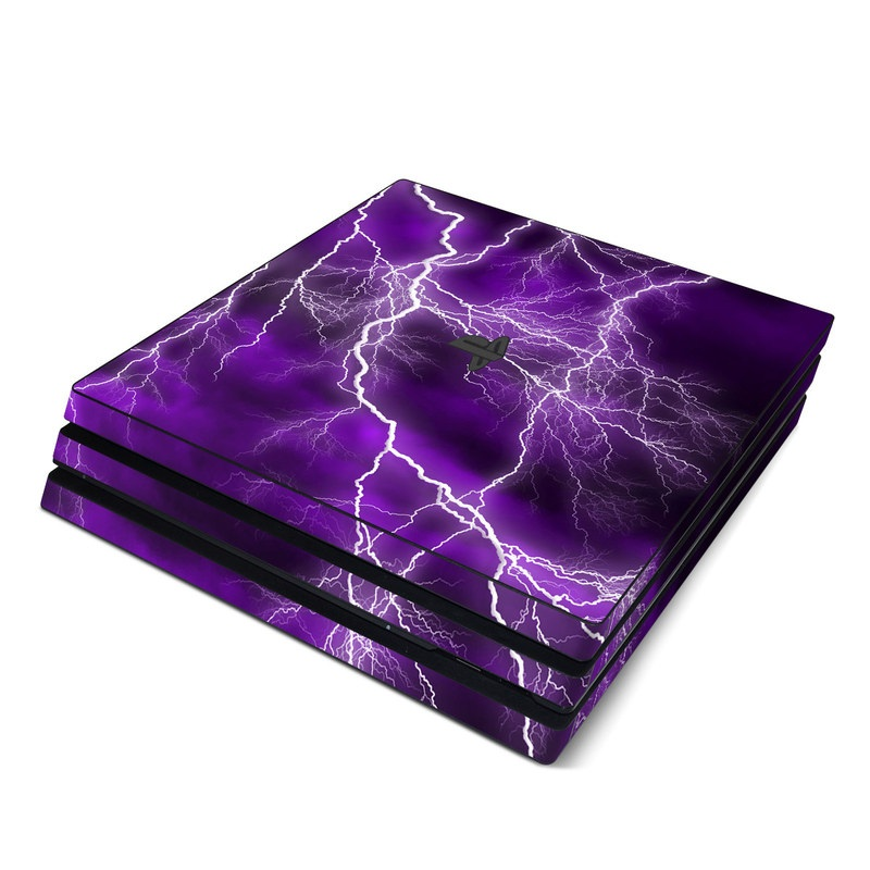 PlayStation 4 Pro Skin design of Thunder, Lightning, Thunderstorm, Sky, Nature, Purple, Violet, Atmosphere, Storm, Electric blue with purple, black, white colors