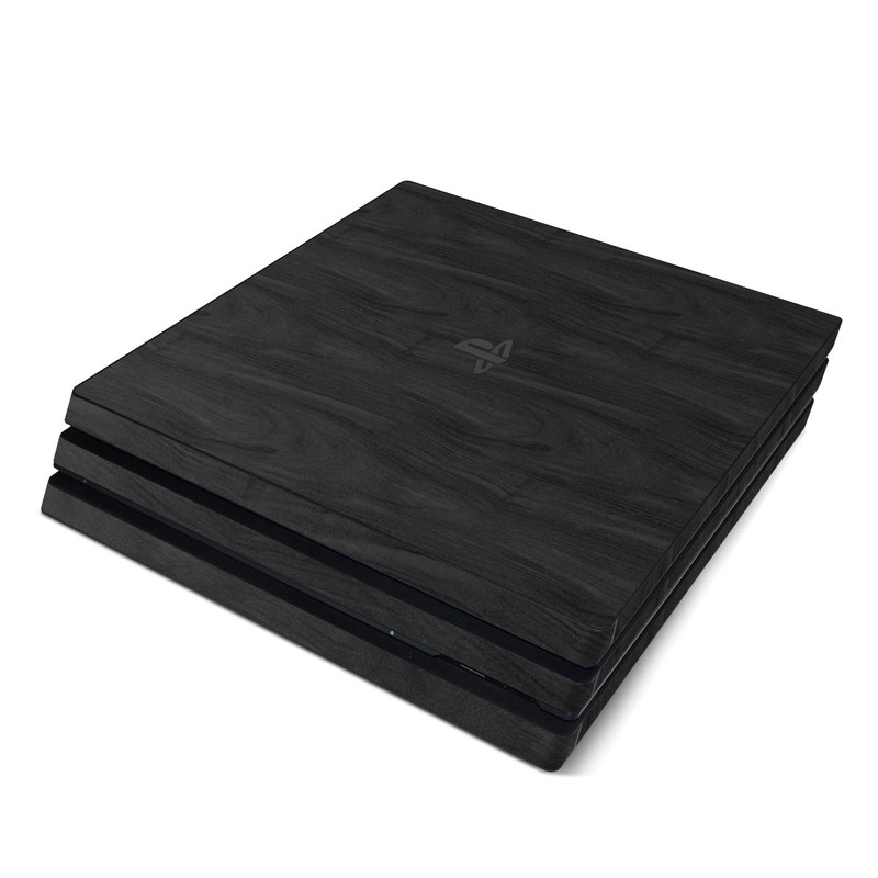 PlayStation 4 Pro Skin design of Black, Brown, Wood, Grey, Flooring, Floor, Laminate flooring, Wood flooring with black colors