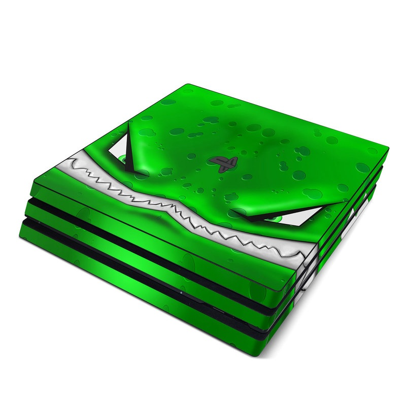 PlayStation 4 Pro Skin design of Green, Font, Animation, Logo, Graphics, Games with green, white colors