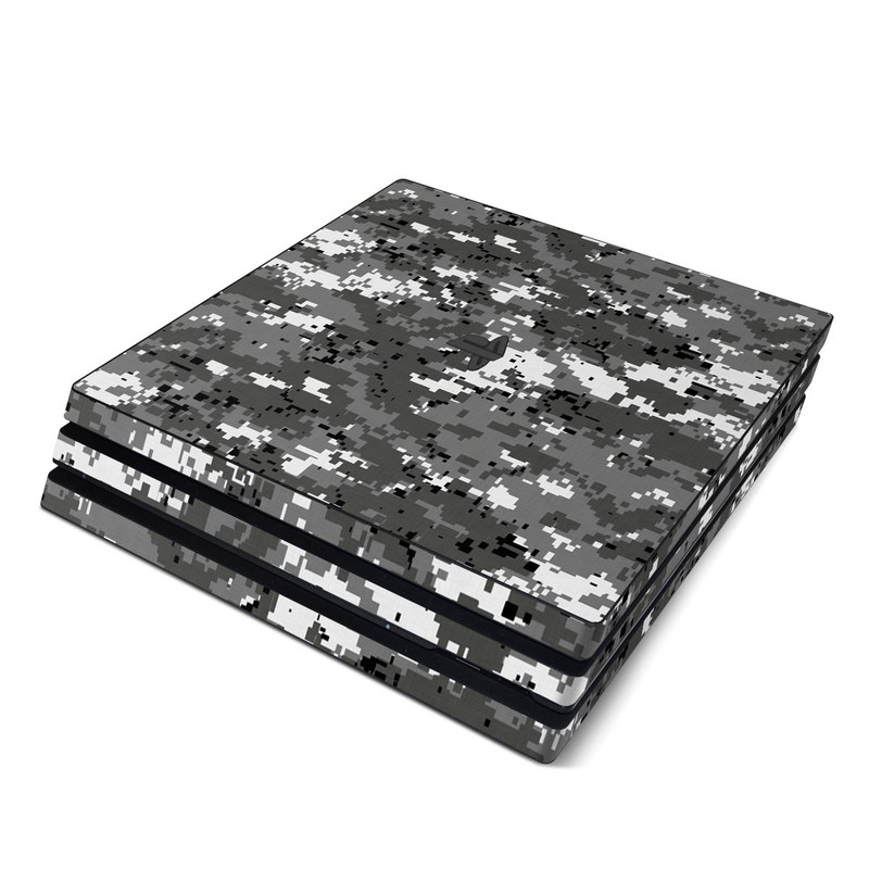 PlayStation 4 Pro Skin design of Military camouflage, Pattern, Camouflage, Design, Uniform, Metal, Black-and-white with black, gray colors