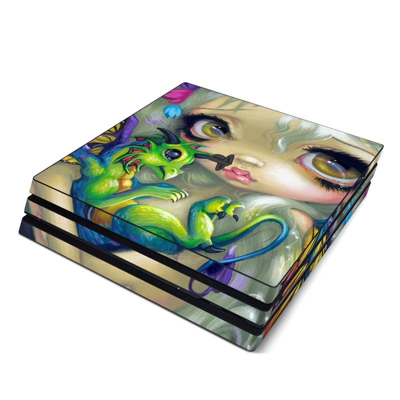 PlayStation 4 Pro Skin design of Illustration, Art, Fictional character, Painting, Visual arts, Fawn, Ear, Drawing with gray, black, green, blue, red colors