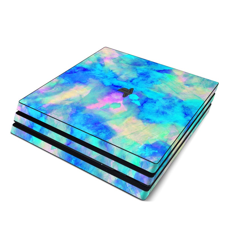 PlayStation 4 Pro Skin design of Blue, Turquoise, Aqua, Pattern, Dye, Design, Sky, Electric blue, Art, Watercolor paint with blue, purple colors