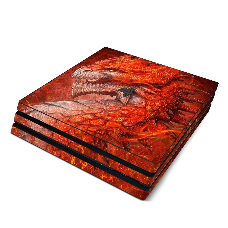 PlayStation 4 Pro Skin design of Fictional character, Cg artwork, Illustration, Art, Demon, Geological phenomenon, Mythical creature, Dragon, Cryptid with red, orange, yellow colors