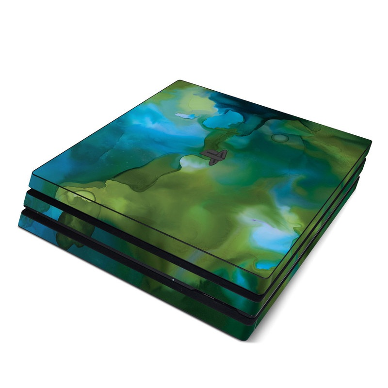PlayStation 4 Pro Skin design of Aqua, Blue, Green, Painting, Turquoise, Teal, Water, Acrylic paint, Art, Organism with blue, green colors