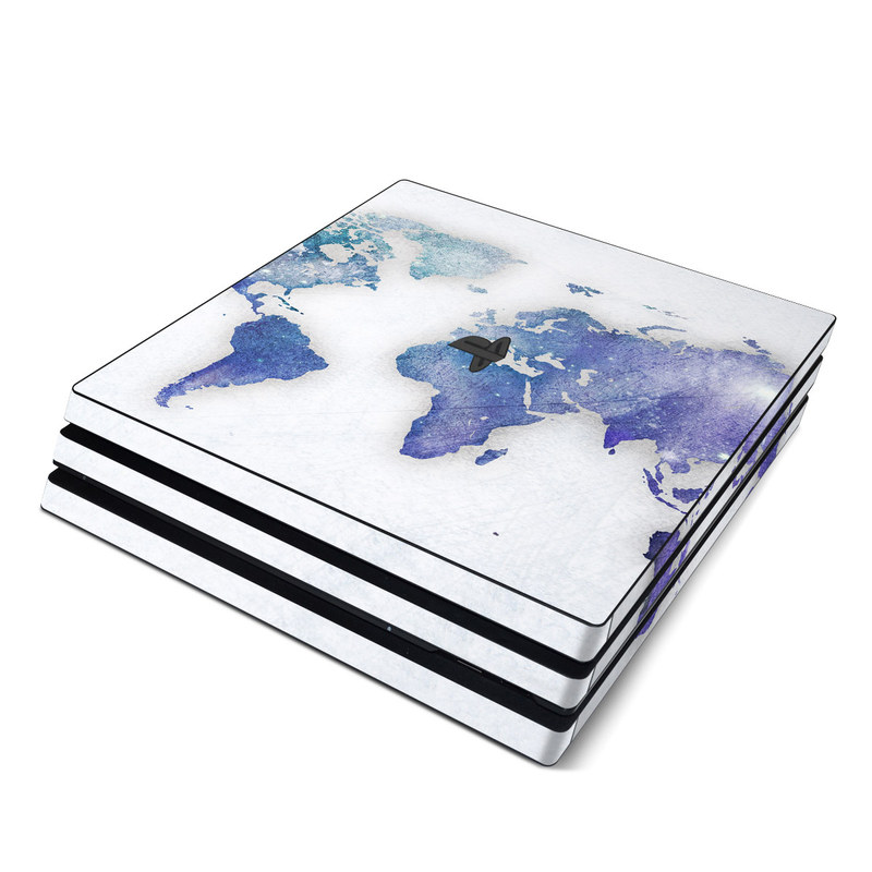 PlayStation 4 Pro Skin design of World, Map, Watercolor paint, Illustration with white, blue, purple colors