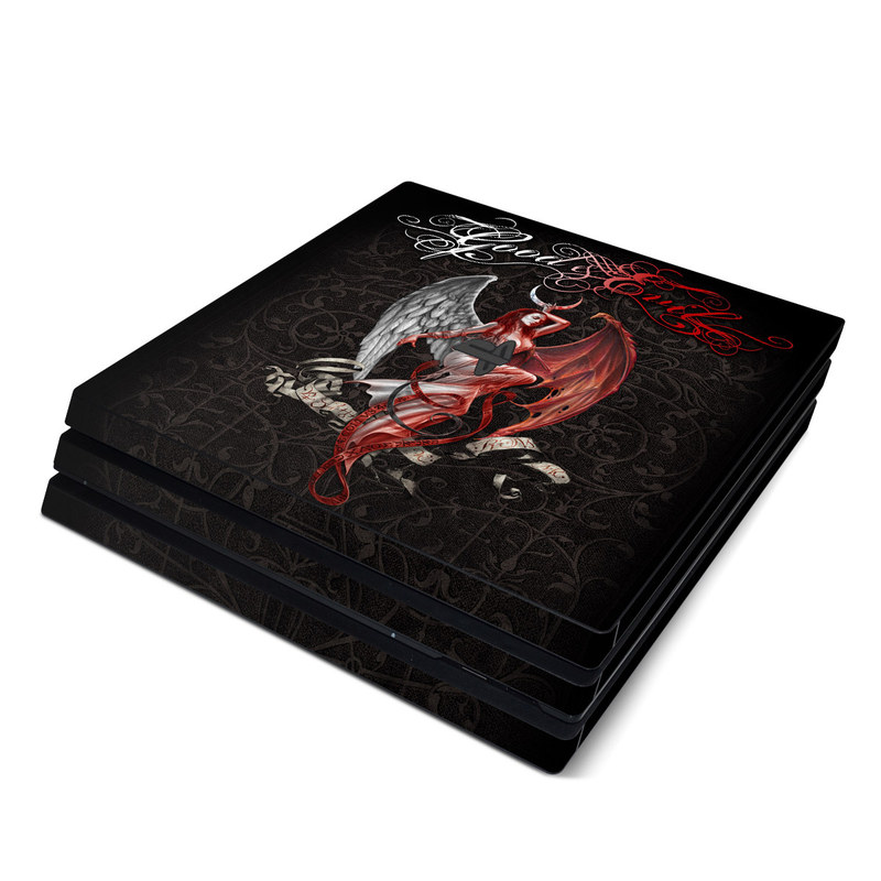 PlayStation 4 Pro Skin design of Illustration, Fictional character, Graphic design, Supernatural creature, Demon, Cg artwork, Art, Mythology, Angel, Wing with black, white, red colors