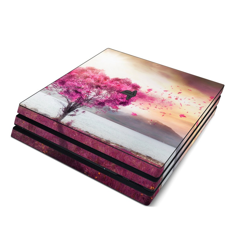 PlayStation 4 Pro Skin design of Sky, Nature, Natural landscape, Pink, Tree, Spring, Purple, Landscape, Cloud, Magenta with pink, yellow, blue, black, gray colors