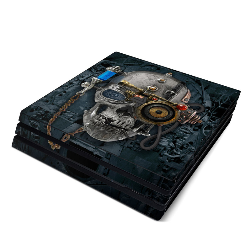 PlayStation 4 Pro Skin design of Engine, Auto part, Still life photography, Personal protective equipment, Illustration, Automotive engine part, Art with black, gray, red, green colors