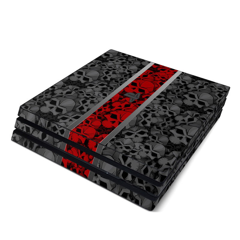 PlayStation 4 Pro Skin design of Font, Text, Pattern, Design, Graphic design, Black-and-white, Monochrome, Graphics, Illustration, Art with black, red, gray colors