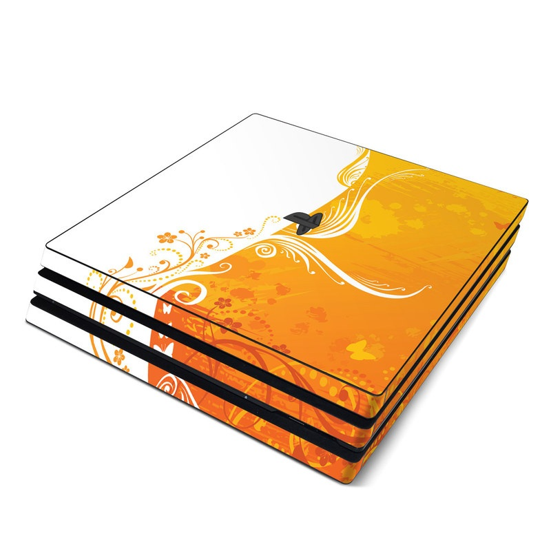 PlayStation 4 Pro Skin design of Orange, Yellow, Pattern, Amber, Design, Ornament, Floral design, Graphics, Graphic design, Visual arts with orange, white, red, pink, yellow colors