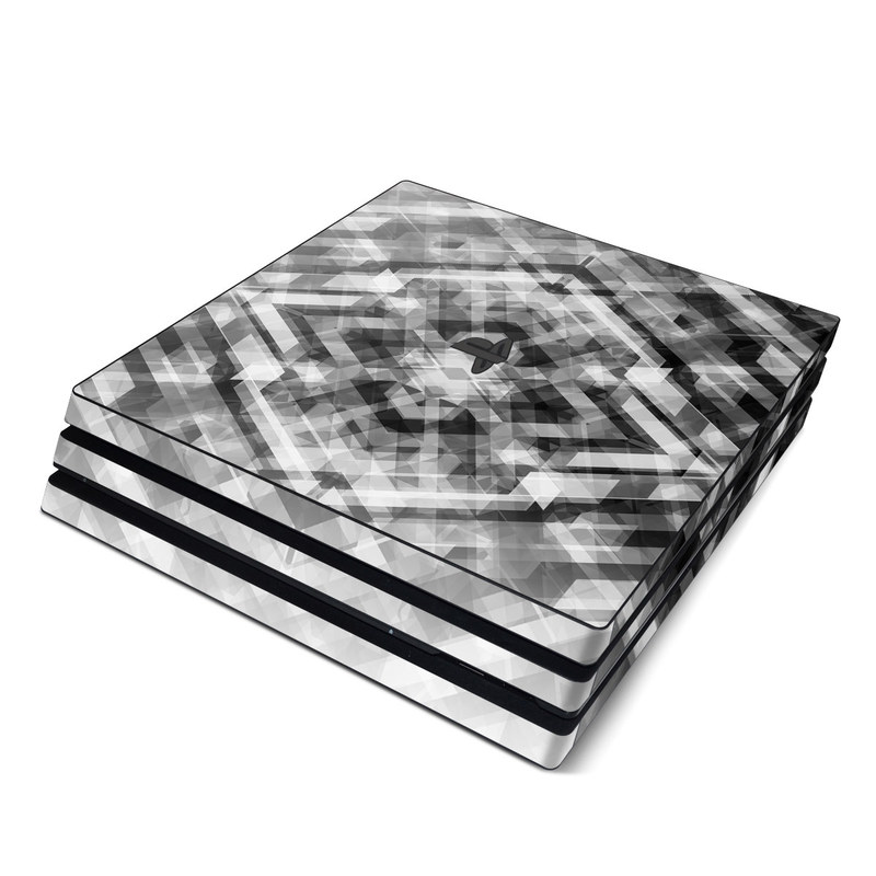 PlayStation 4 Pro Skin design of Black-and-white, Pattern, Monochrome, Symmetry, Monochrome photography, Design, Style, Illustration with black, white, gray colors