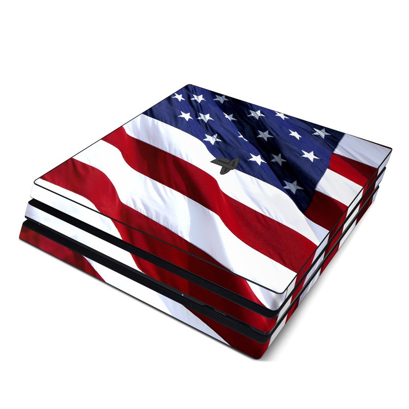 PlayStation 4 Pro Skin design of Flag, Flag of the united states, Flag Day (USA), Veterans day, Memorial day, Holiday, Independence day, Event with red, blue, white colors