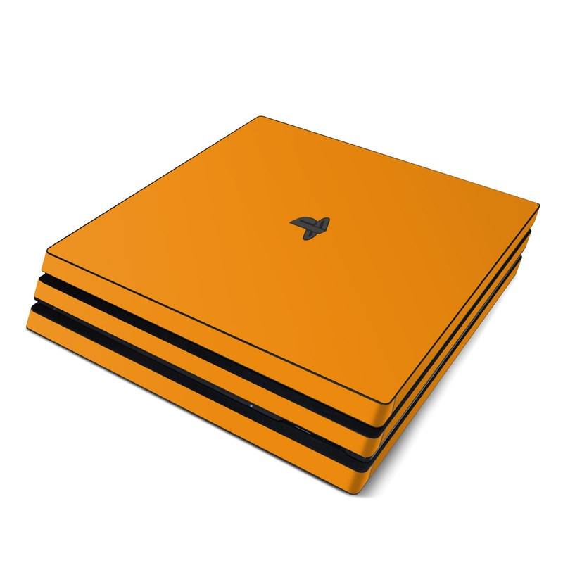 PlayStation 4 Pro Skin design of Orange, Yellow, Brown, Text, Amber, Font, Peach with orange colors