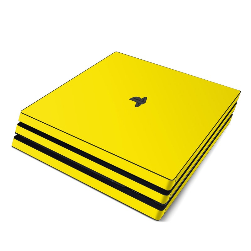 PlayStation 4 Pro Skin design of Green, Yellow, Orange, Text, Font with yellow colors
