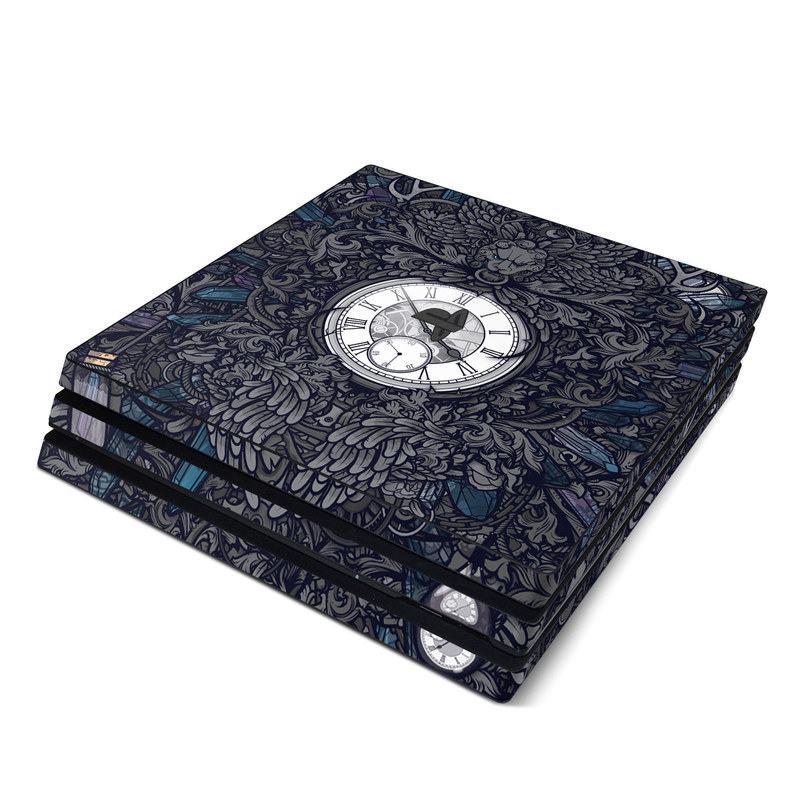 PlayStation 4 Pro Skin design of Blue, Pattern, Psychedelic art, Design, Circle, Art, Font, Graphic design, Visual arts, Illustration with black, gray colors