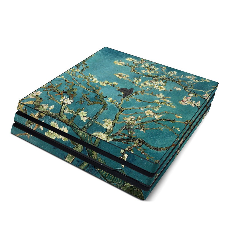 PlayStation 4 Pro Skin design of Tree, Branch, Plant, Flower, Blossom, Spring, Woody plant, Perennial plant with blue, black, gray, green colors