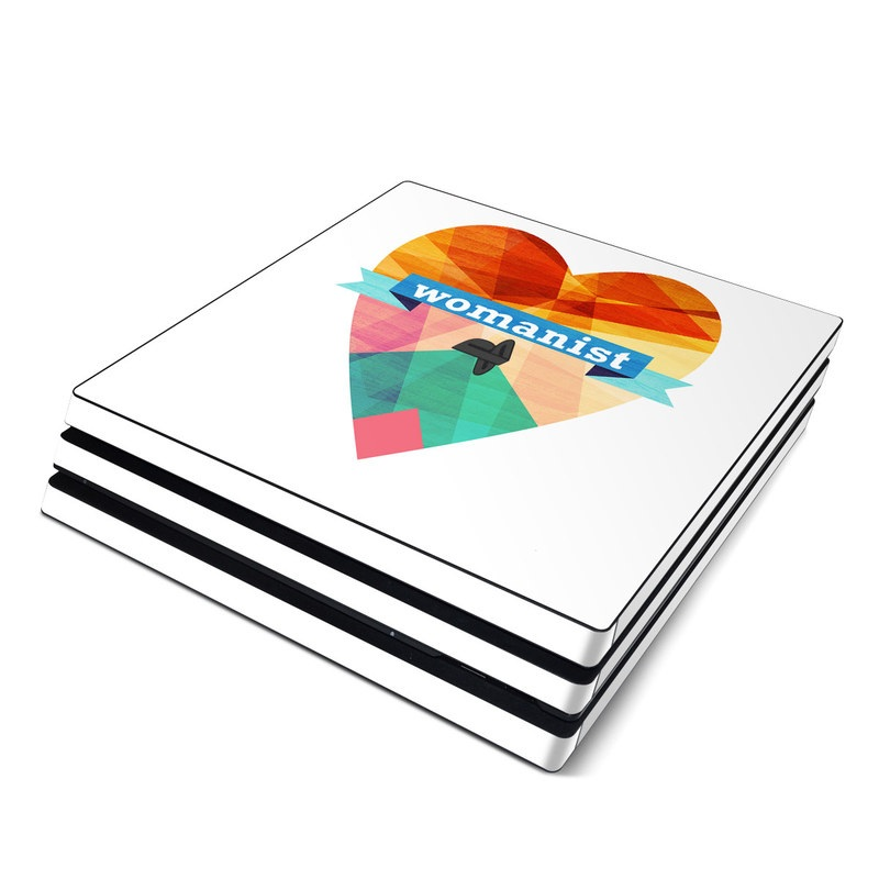 PlayStation 4 Pro Skin design of Orange, Text, Heart, Line, Design, Font, Logo, Love, Graphic design with white, blue, red, yellow, pink, green, orange colors