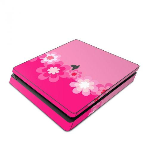 Retro Pink Flowers PlayStation 4 Slim Skin