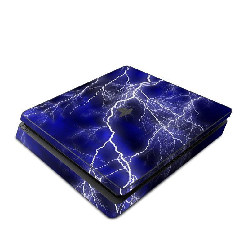 PlayStation 4 Slim Skin design of Thunder, Lightning, Thunderstorm, Sky, Nature, Electric blue, Atmosphere, Daytime, Blue, Atmospheric phenomenon with blue, black, white colors