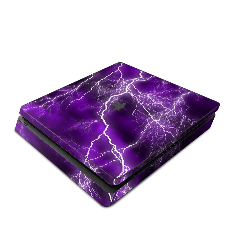 PlayStation 4 Slim Skin design of Thunder, Lightning, Thunderstorm, Sky, Nature, Purple, Violet, Atmosphere, Storm, Electric blue with purple, black, white colors