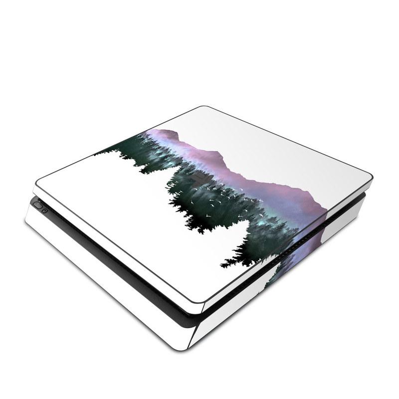 PlayStation 4 Slim Skin design of Nature, Mountainous landforms, Mountain, Atmospheric phenomenon, Tree, Wilderness, Sky, Mountain range, Forest, Hill with white, black, purple, blue, green colors