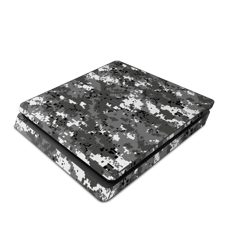 PlayStation 4 Slim Skin design of Military camouflage, Pattern, Camouflage, Design, Uniform, Metal, Black-and-white with black, gray colors