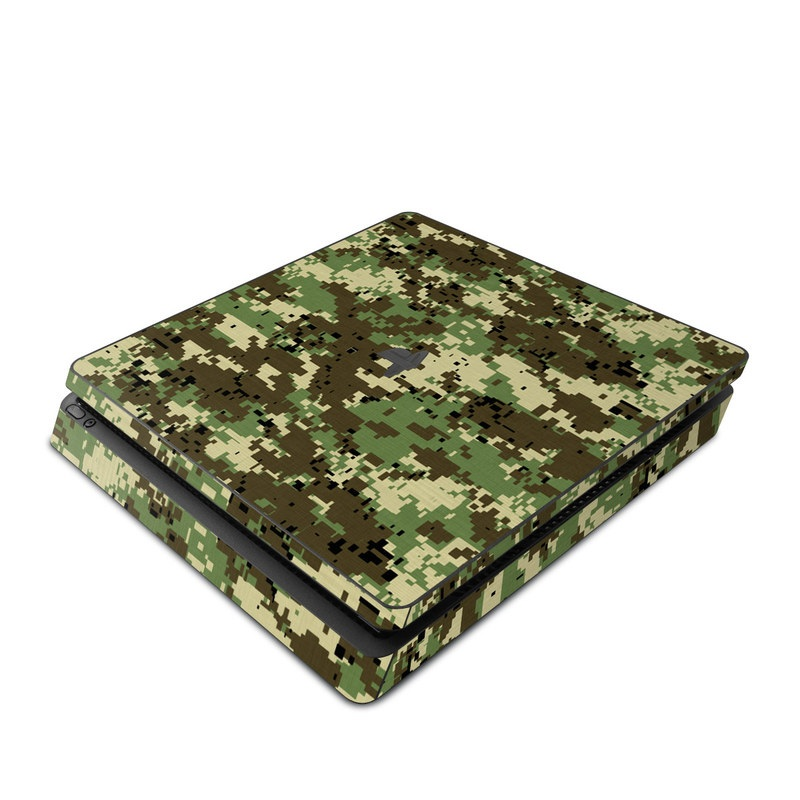 PlayStation 4 Slim Skin design of Military camouflage, Pattern, Camouflage, Green, Uniform, Clothing, Design, Military uniform with black, gray, green colors