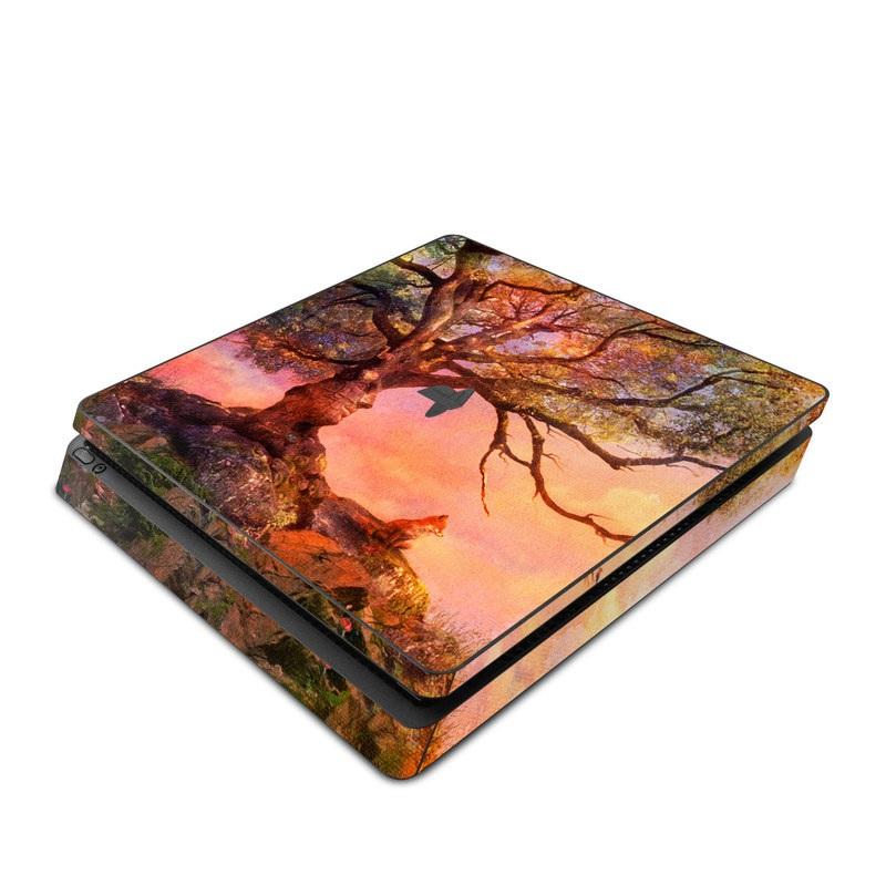 PlayStation 4 Slim Skin design of Nature, Tree, Sky, Natural landscape, Branch, Leaf, Woody plant, Trunk, Landscape, Plant with pink, red, black, green, gray, orange colors
